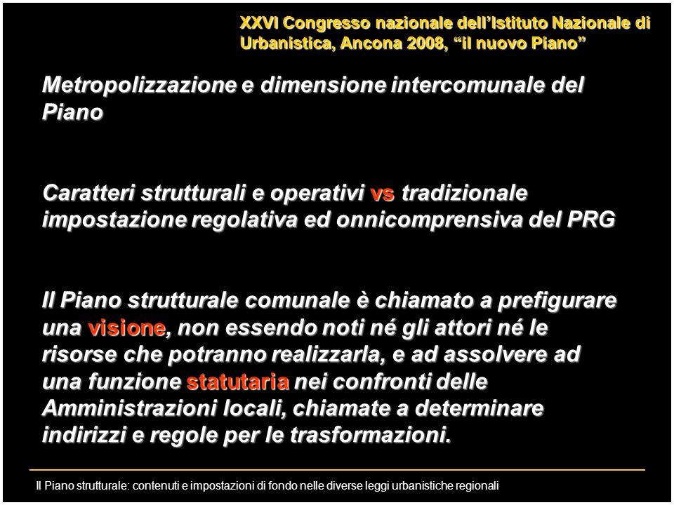 Metropolizzazione e dimensione intercomunale del Piano
