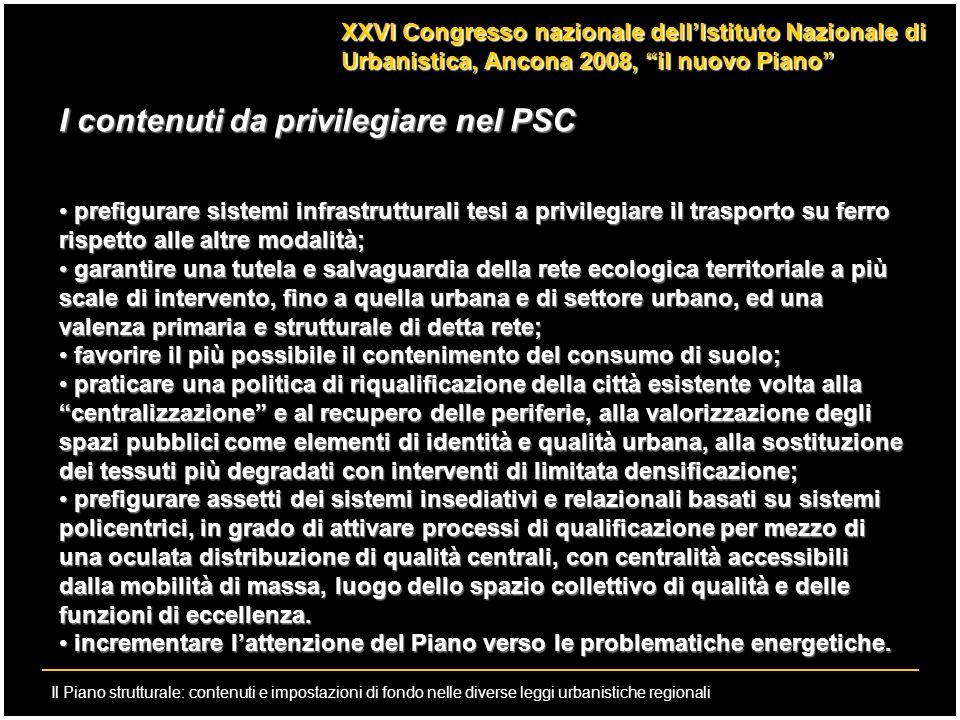 I contenuti da privilegiare nel PSC