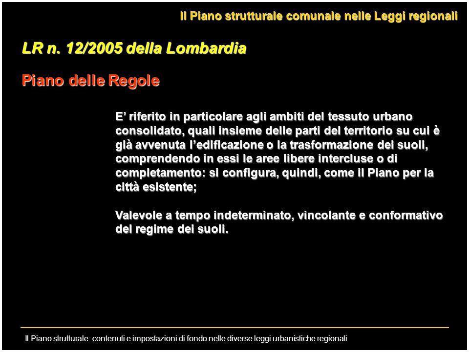 LR n. 12/2005 della Lombardia Piano delle Regole