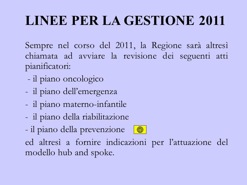 LINEE PER LA GESTIONE 2011 Sempre nel corso del 2011, la Regione sarà altresì chiamata ad avviare la revisione dei seguenti atti pianificatori: