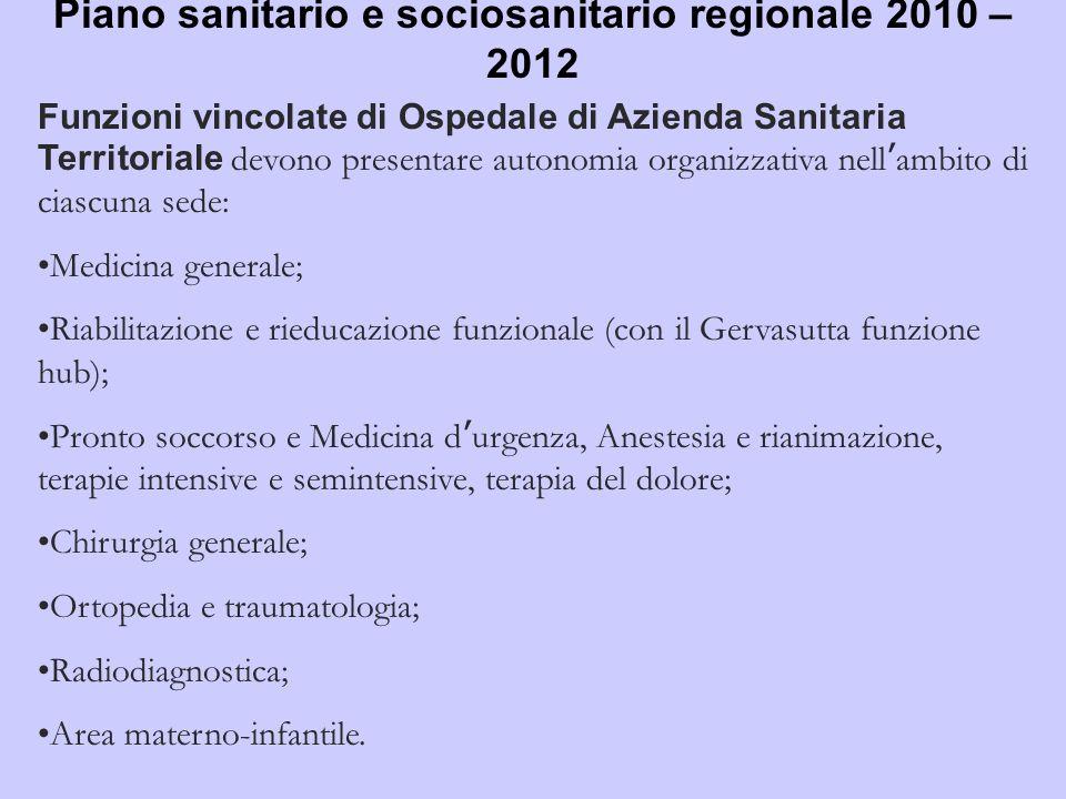 Piano sanitario e sociosanitario regionale 2010 – 2012