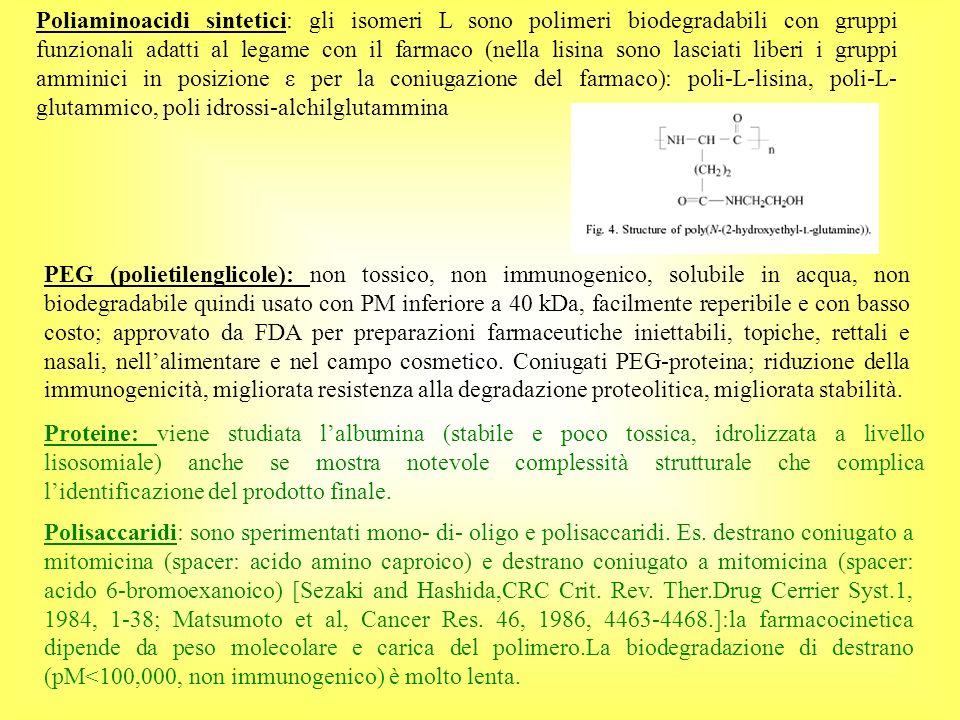 Poliaminoacidi sintetici: gli isomeri L sono polimeri biodegradabili con gruppi funzionali adatti al legame con il farmaco (nella lisina sono lasciati liberi i gruppi amminici in posizione ε per la coniugazione del farmaco): poli-L-lisina, poli-L-glutammico, poli idrossi-alchilglutammina