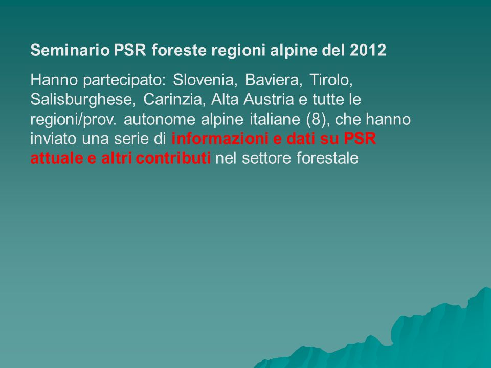 Seminario PSR foreste regioni alpine del 2012
