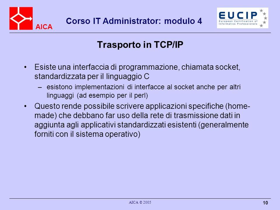 Trasporto in TCP/IP Esiste una interfaccia di programmazione, chiamata socket, standardizzata per il linguaggio C.