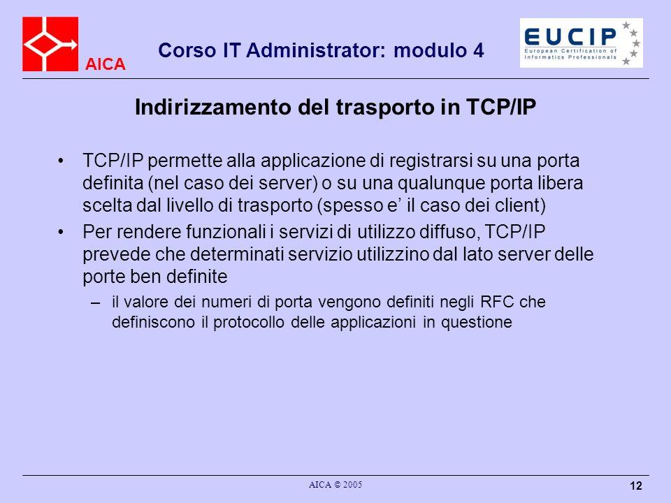 Indirizzamento del trasporto in TCP/IP