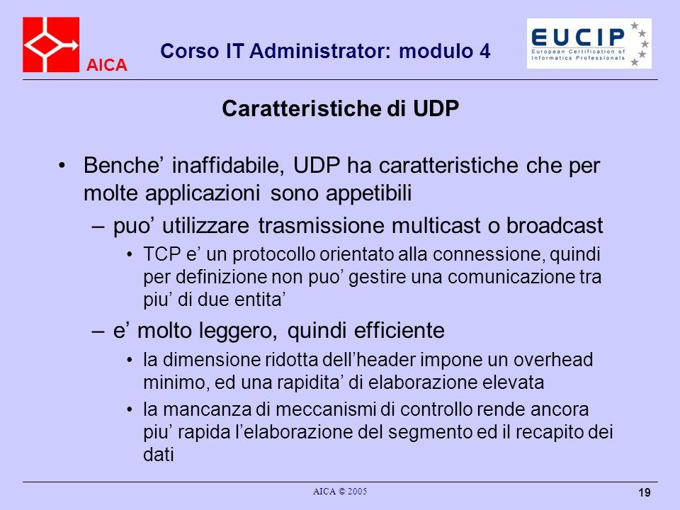 Caratteristiche di UDP