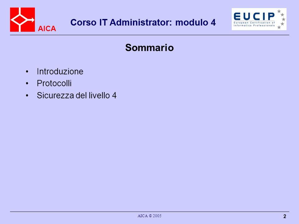 Sommario Corso IT Administrator: modulo 4 Introduzione Protocolli