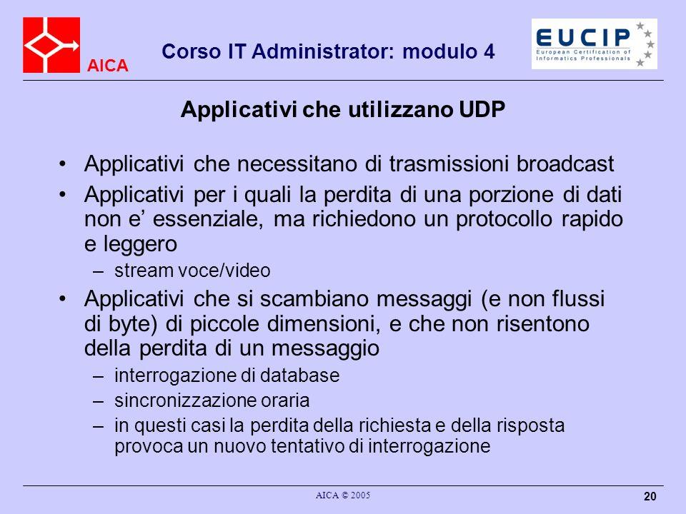 Applicativi che utilizzano UDP