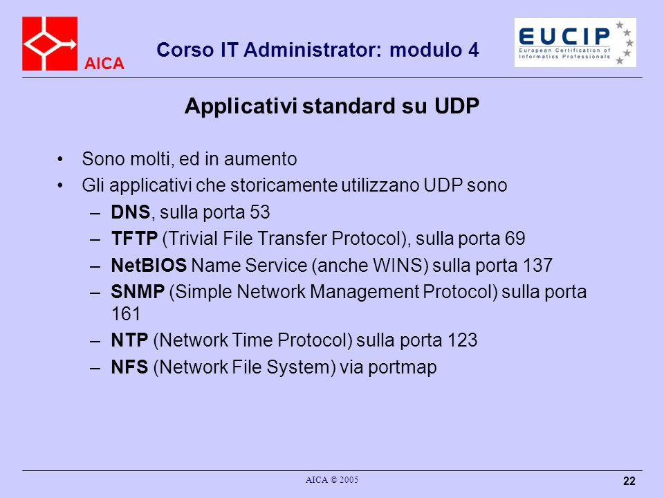 Applicativi standard su UDP