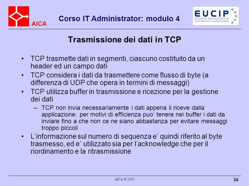 Trasmissione dei dati in TCP
