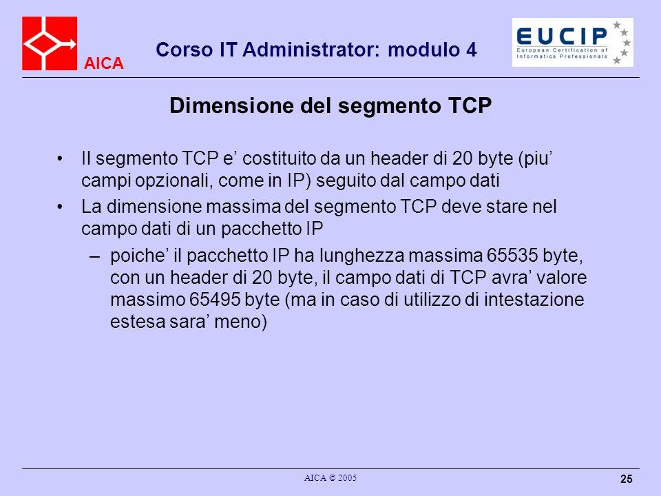 Dimensione del segmento TCP