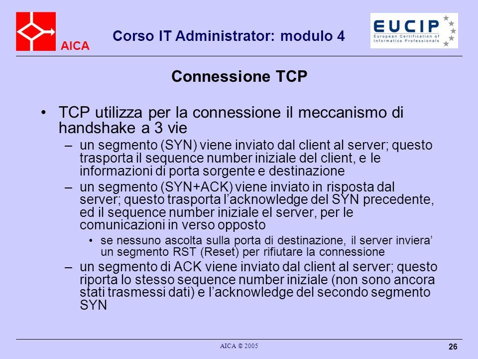 TCP utilizza per la connessione il meccanismo di handshake a 3 vie