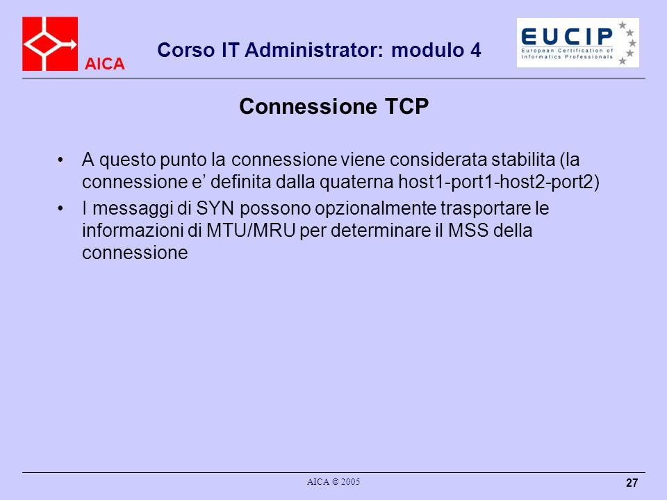 Connessione TCP A questo punto la connessione viene considerata stabilita (la connessione e' definita dalla quaterna host1-port1-host2-port2)