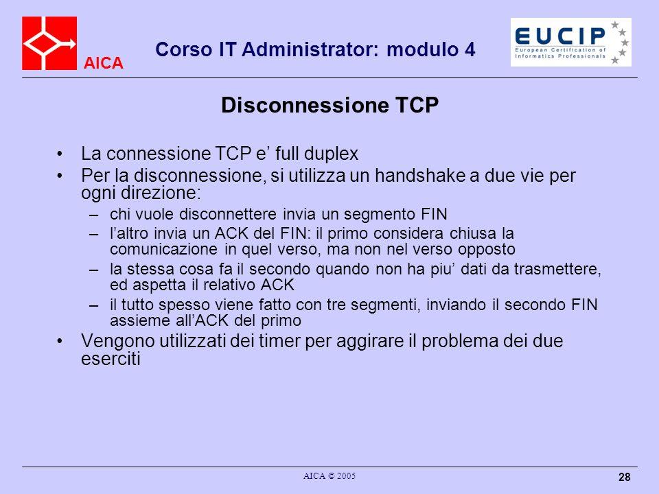 Disconnessione TCP La connessione TCP e' full duplex