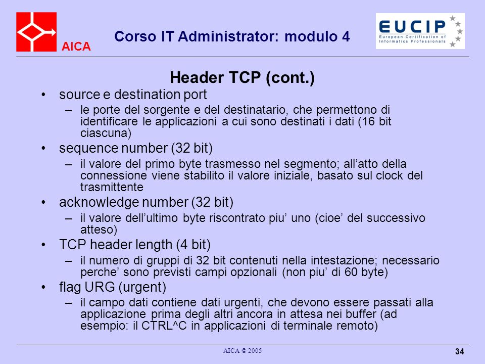 Header TCP (cont.) source e destination port sequence number (32 bit)