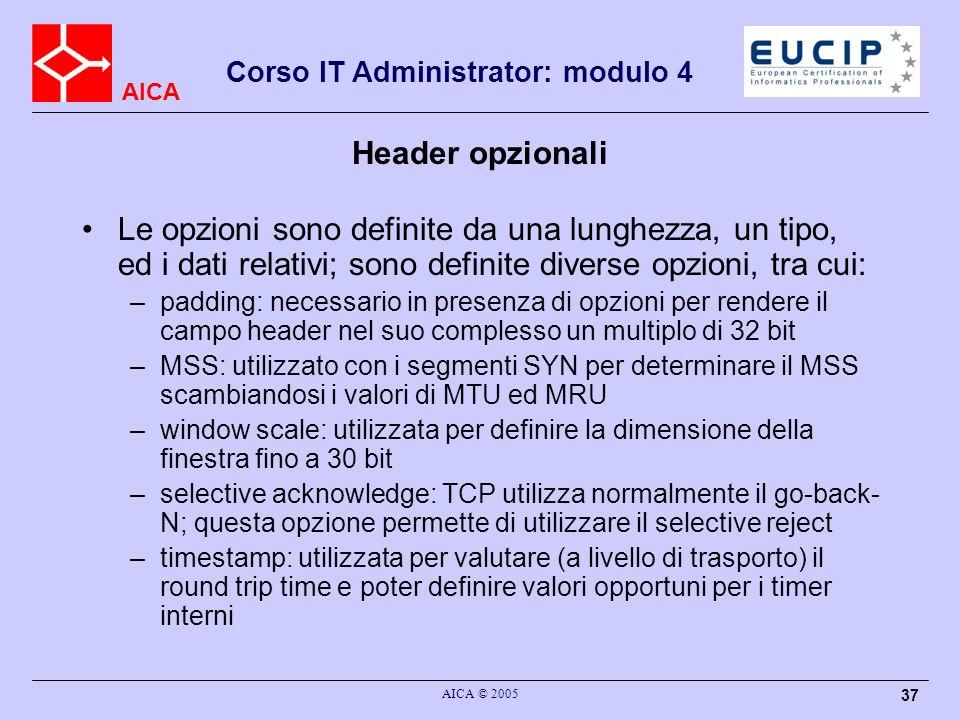 Header opzionali Le opzioni sono definite da una lunghezza, un tipo, ed i dati relativi; sono definite diverse opzioni, tra cui:
