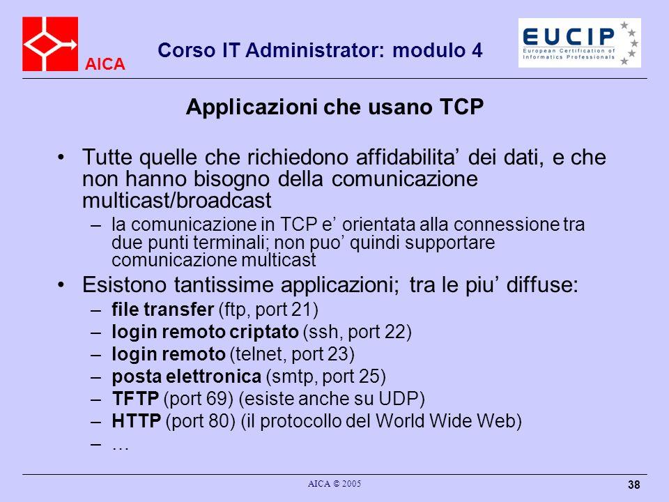 Applicazioni che usano TCP