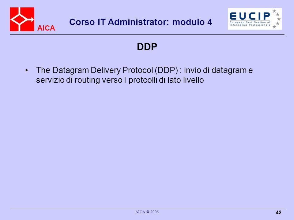 DDP The Datagram Delivery Protocol (DDP) : invio di datagram e servizio di routing verso I protcolli di lato livello.