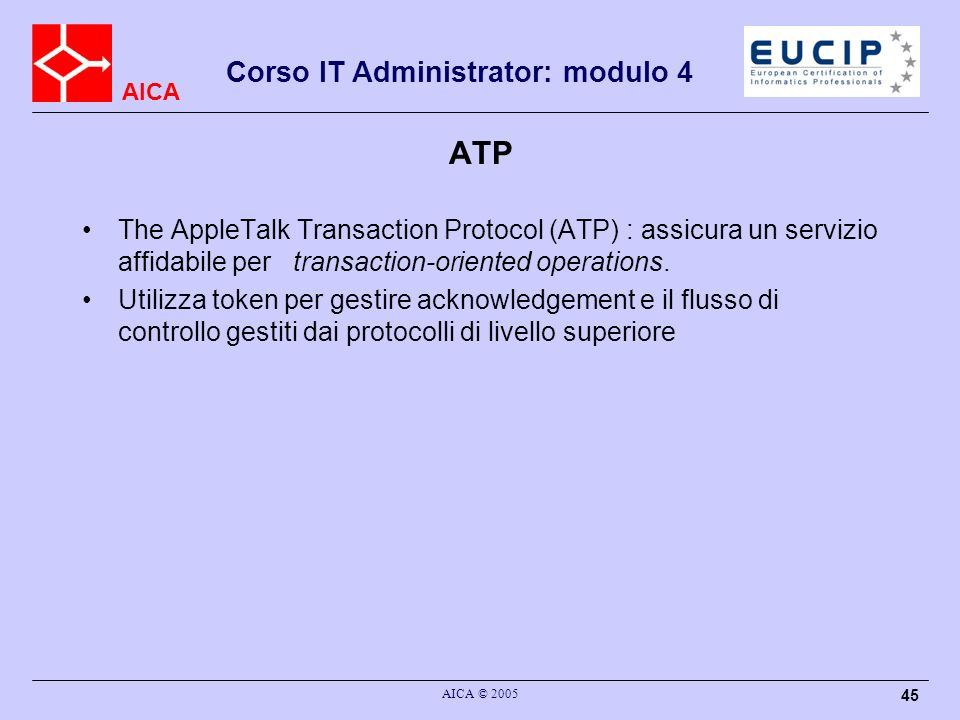 ATP The AppleTalk Transaction Protocol (ATP) : assicura un servizio affidabile per transaction-oriented operations.