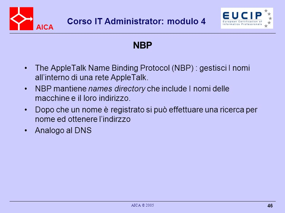 NBP The AppleTalk Name Binding Protocol (NBP) : gestisci I nomi all'interno di una rete AppleTalk.