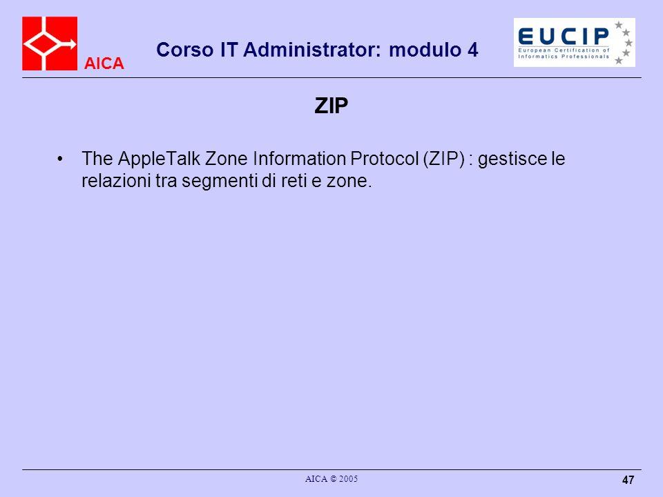 ZIP The AppleTalk Zone Information Protocol (ZIP) : gestisce le relazioni tra segmenti di reti e zone.