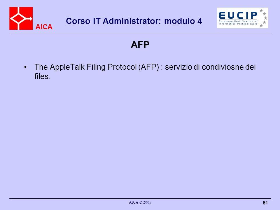 AFP The AppleTalk Filing Protocol (AFP) : servizio di condiviosne dei files. AICA © 2005