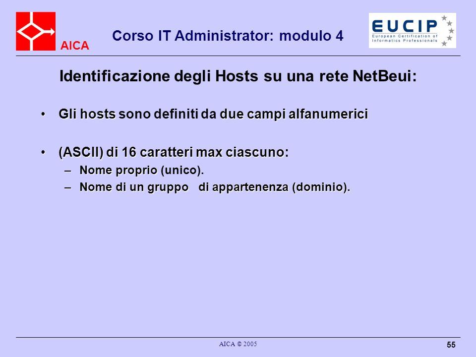 Identificazione degli Hosts su una rete NetBeui:
