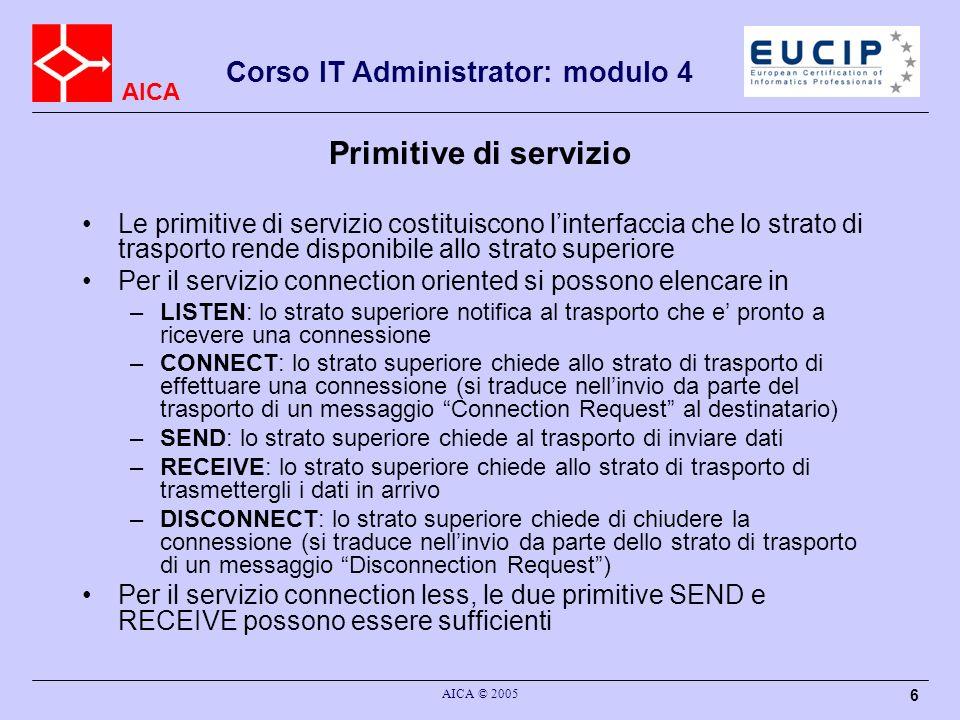 Primitive di servizio Le primitive di servizio costituiscono l'interfaccia che lo strato di trasporto rende disponibile allo strato superiore.