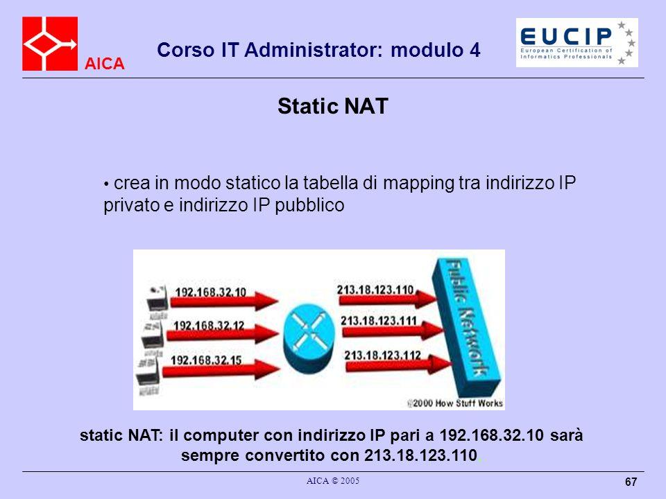 Static NAT crea in modo statico la tabella di mapping tra indirizzo IP privato e indirizzo IP pubblico.