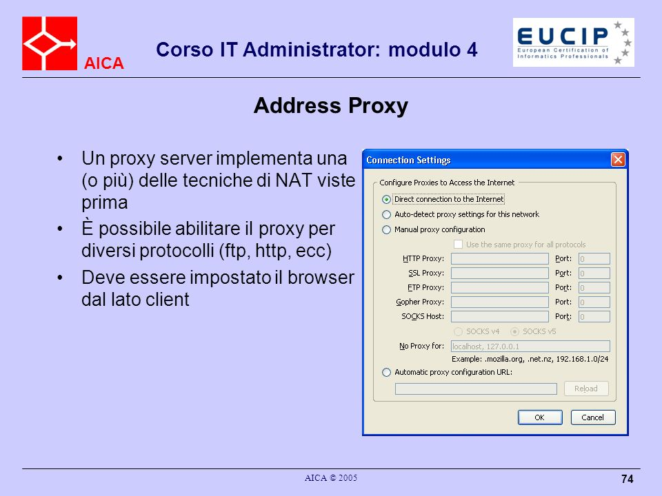 Address Proxy Un proxy server implementa una (o più) delle tecniche di NAT viste prima.