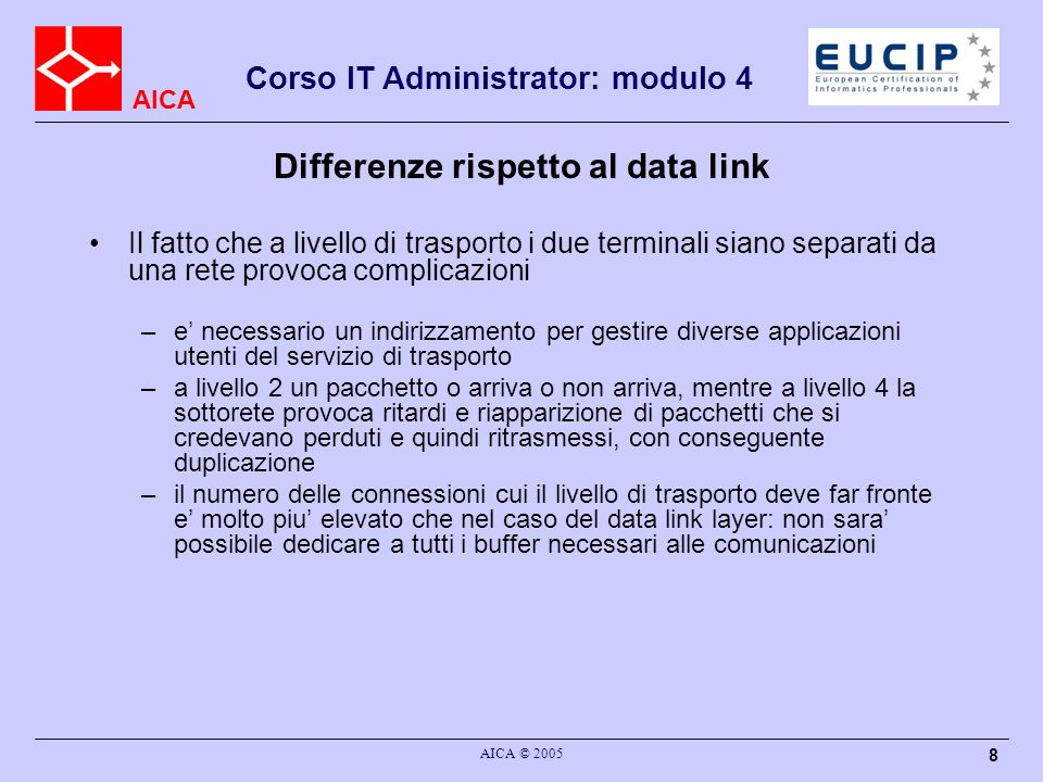 Differenze rispetto al data link