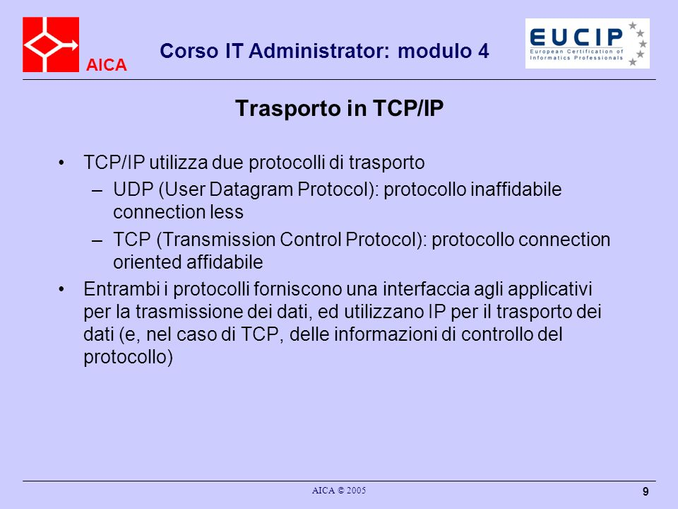 Trasporto in TCP/IP TCP/IP utilizza due protocolli di trasporto