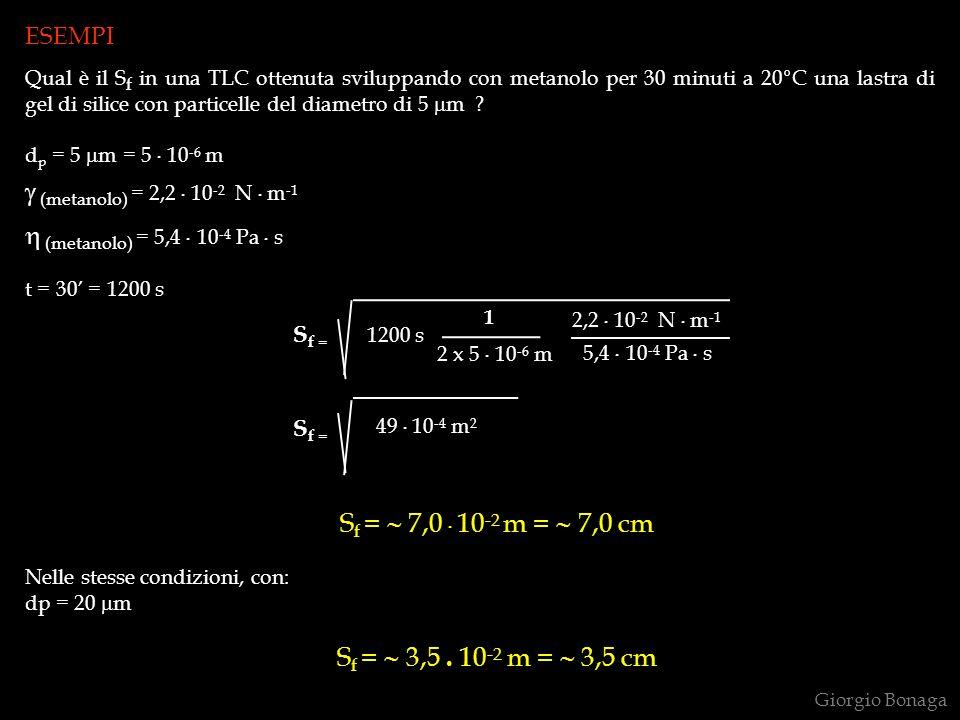 (metanolo) = 2,2 . 10-2 N . m-1 (metanolo) = 5,4 . 10-4 Pa . s