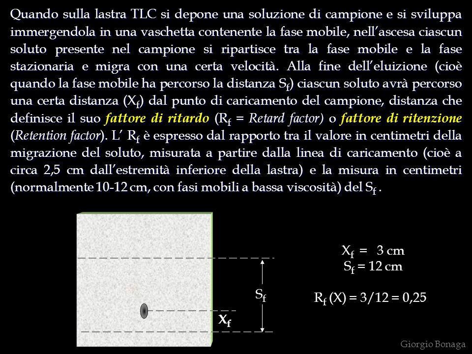 Quando sulla lastra TLC si depone una soluzione di campione e si sviluppa immergendola in una vaschetta contenente la fase mobile, nell'ascesa ciascun soluto presente nel campione si ripartisce tra la fase mobile e la fase stazionaria e migra con una certa velocità. Alla fine dell'eluizione (cioè quando la fase mobile ha percorso la distanza Sf) ciascun soluto avrà percorso una certa distanza (Xf) dal punto di caricamento del campione, distanza che definisce il suo fattore di ritardo (Rf = Retard factor) o fattore di ritenzione (Retention factor). L' Rf è espresso dal rapporto tra il valore in centimetri della migrazione del soluto, misurata a partire dalla linea di caricamento (cioè a circa 2,5 cm dall'estremità inferiore della lastra) e la misura in centimetri (normalmente 10-12 cm, con fasi mobili a bassa viscosità) del Sf .