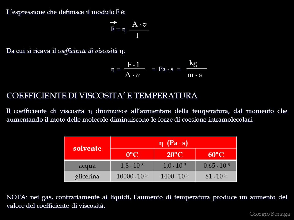 COEFFICIENTE DI VISCOSITA' E TEMPERATURA