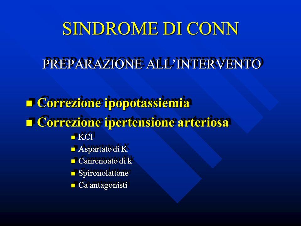 SINDROME DI CONN PREPARAZIONE ALL'INTERVENTO Correzione ipopotassiemia