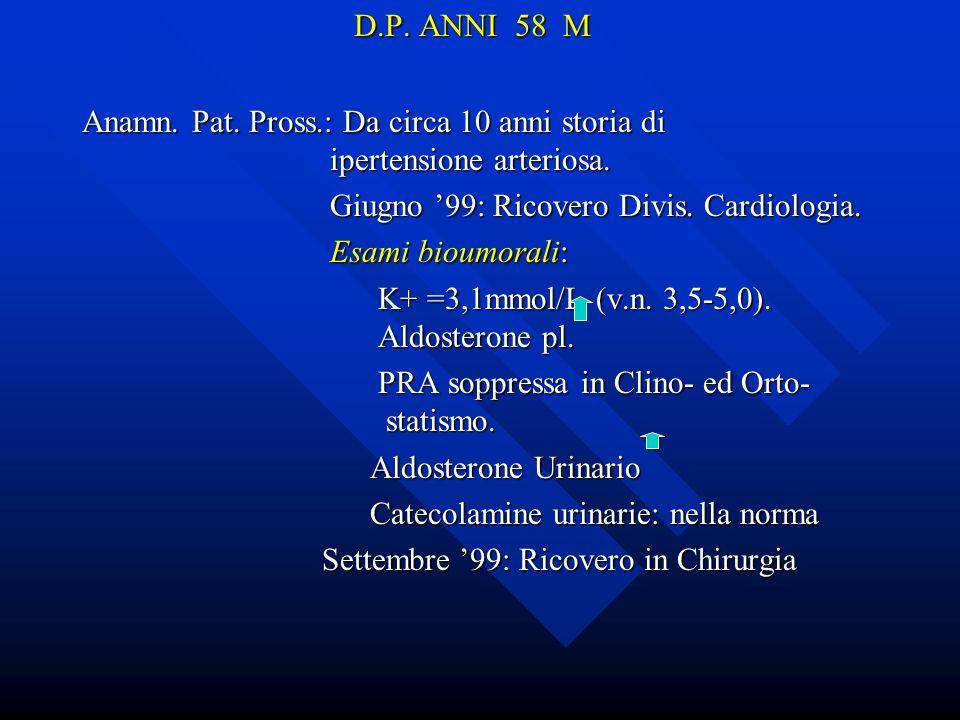 D.P. ANNI 58 MAnamn. Pat. Pross.: Da circa 10 anni storia di ipertensione arteriosa.