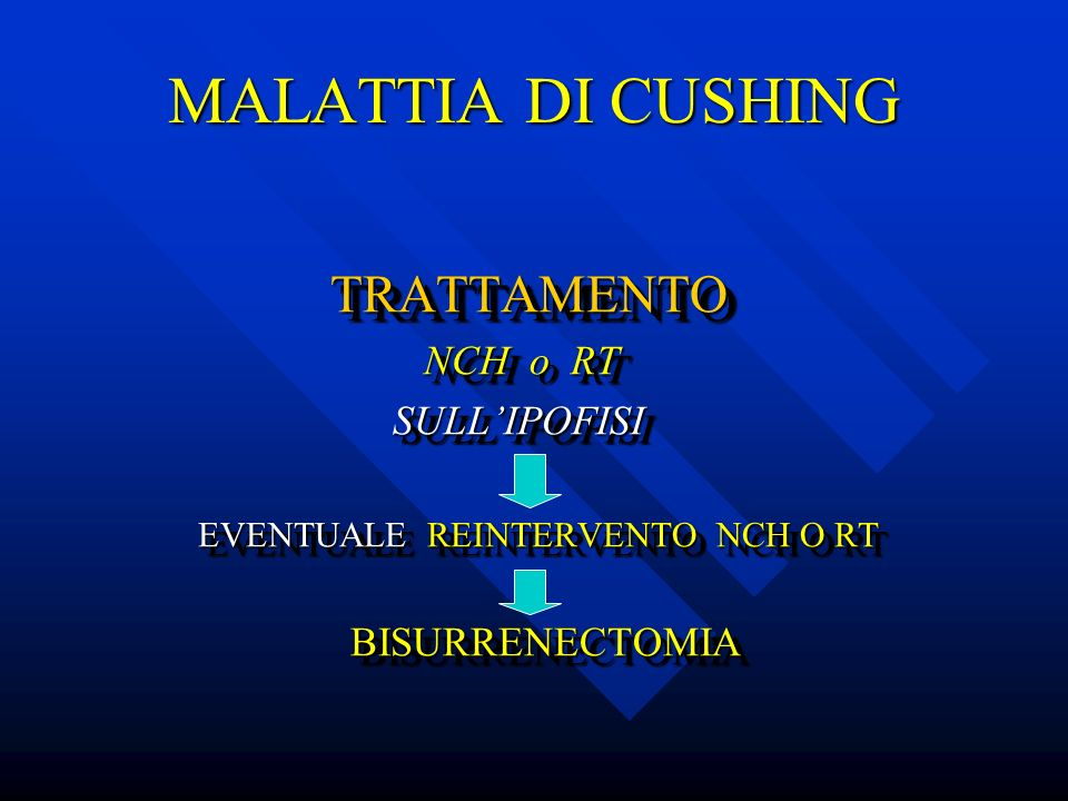 MALATTIA DI CUSHING TRATTAMENTO NCH o RT SULL'IPOFISI BISURRENECTOMIA