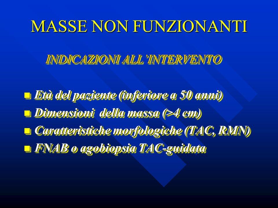 MASSE NON FUNZIONANTI INDICAZIONI ALL'INTERVENTO