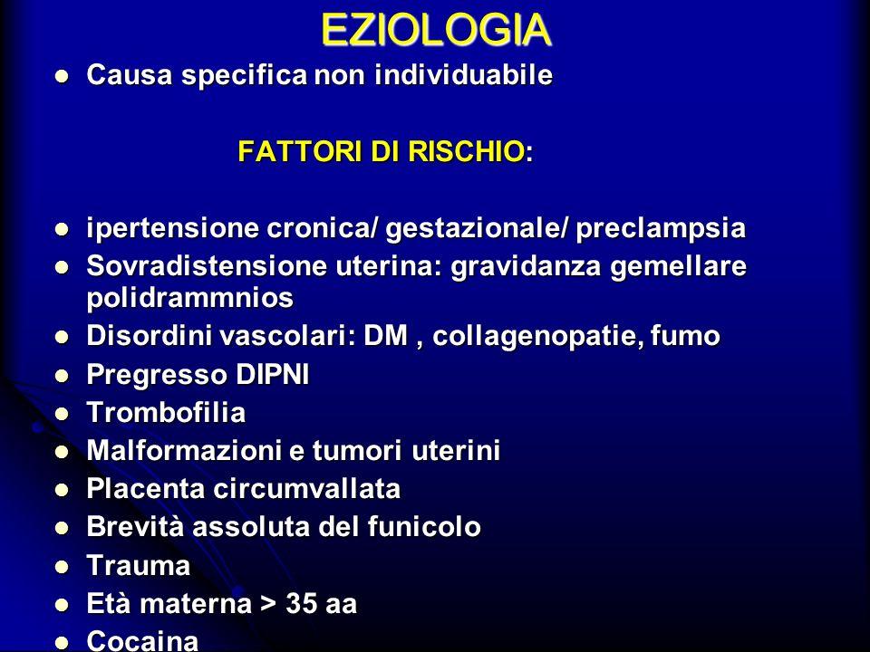 EZIOLOGIA Causa specifica non individuabile FATTORI DI RISCHIO: