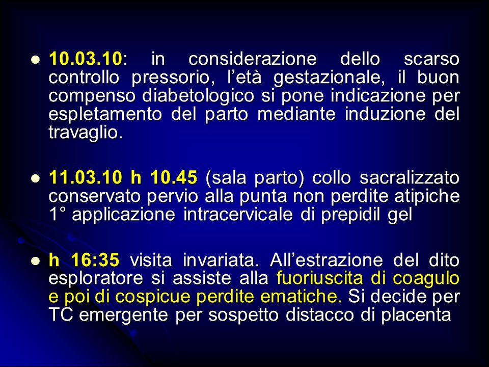 10.03.10: in considerazione dello scarso controllo pressorio, l'età gestazionale, il buon compenso diabetologico si pone indicazione per espletamento del parto mediante induzione del travaglio.