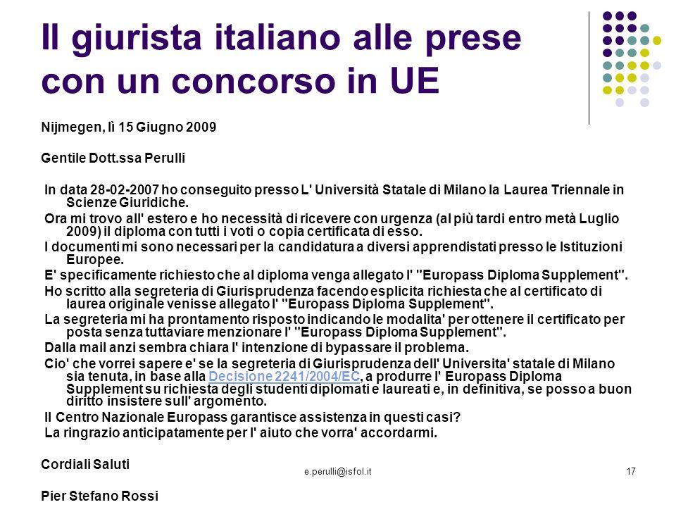 Il giurista italiano alle prese con un concorso in UE