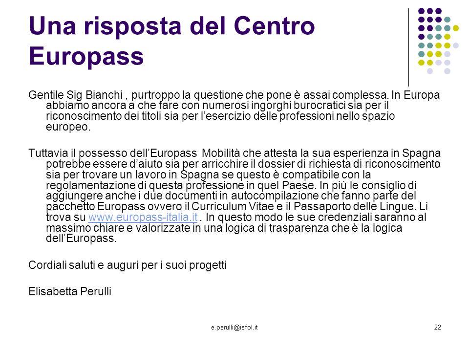 Una risposta del Centro Europass