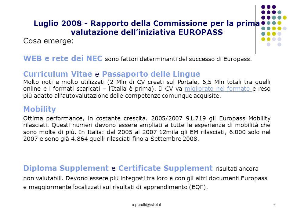 WEB e rete dei NEC sono fattori determinanti del successo di Europass.