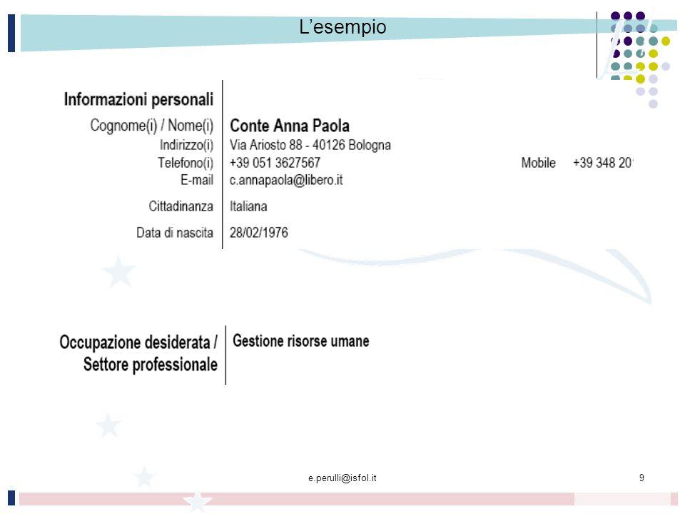 L'esempio e.perulli@isfol.it