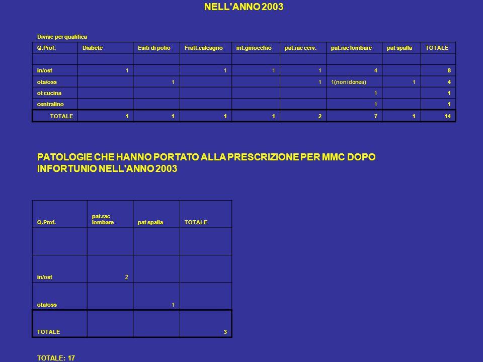 NELL ANNO 2003 Divise per qualifica. Q.Prof. Diabete. Esiti di polio. Fratt.calcagno. int.ginocchio.