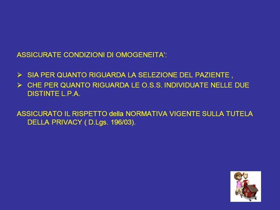 ASSICURATE CONDIZIONI DI OMOGENEITA':