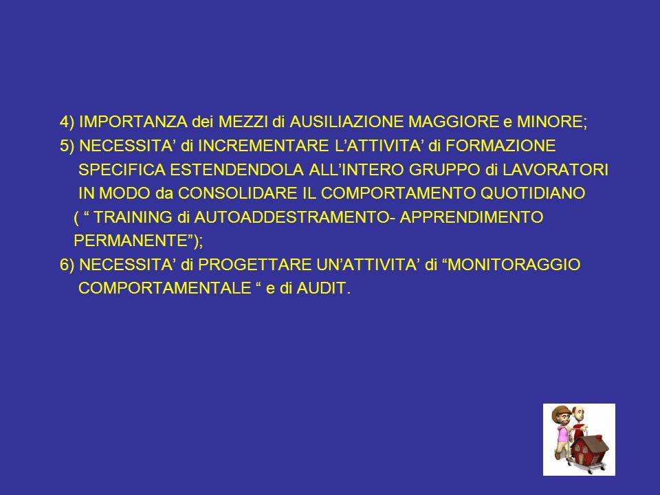 4) IMPORTANZA dei MEZZI di AUSILIAZIONE MAGGIORE e MINORE;