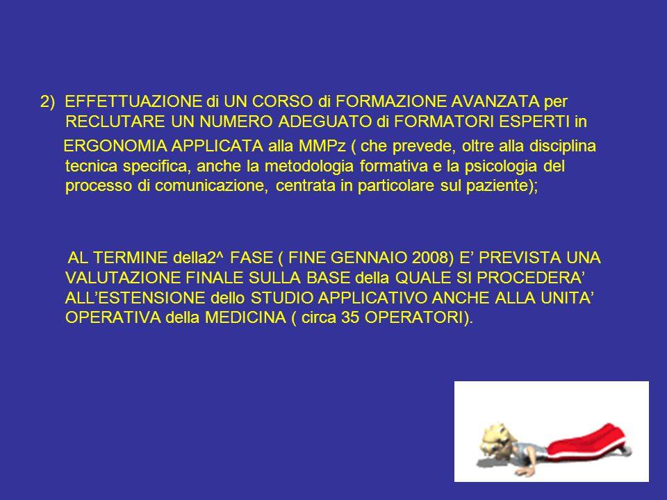 2) EFFETTUAZIONE di UN CORSO di FORMAZIONE AVANZATA per RECLUTARE UN NUMERO ADEGUATO di FORMATORI ESPERTI in