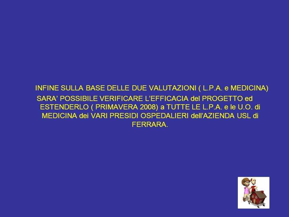 INFINE SULLA BASE DELLE DUE VALUTAZIONI ( L.P.A. e MEDICINA)
